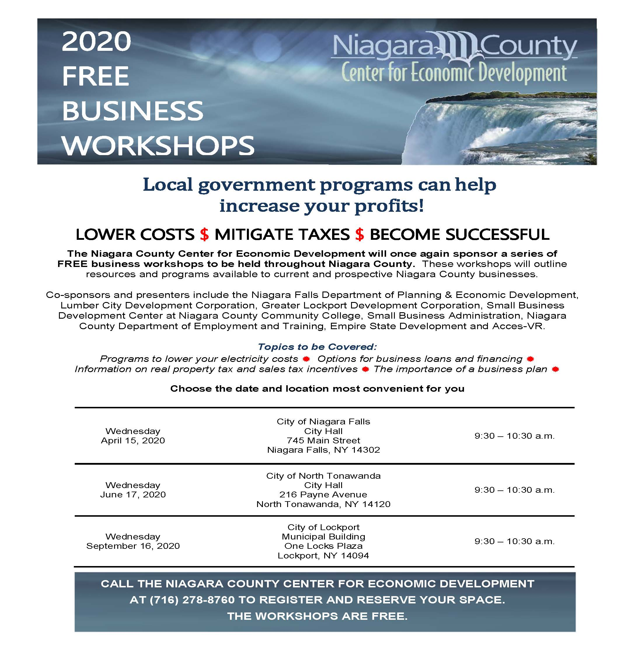 2020 Niagara County Free Business Workshops Series Announced